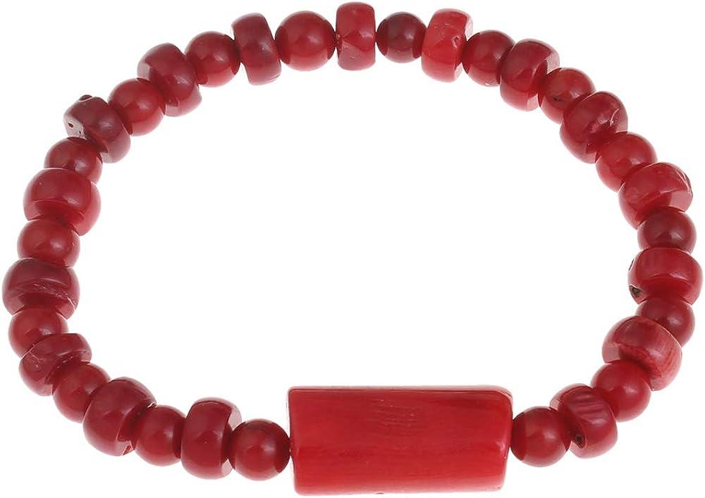 TreasureBay - Pulsera elástica de coral rojo natural, 18 cm