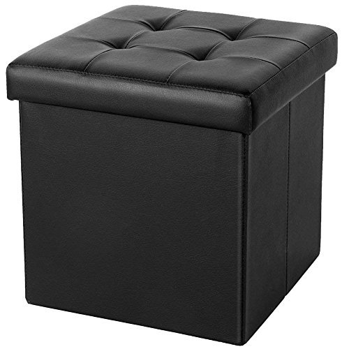 ShellKingdom Faux Leather Collapsible Ottoman with Storage (15''X15''X15'' Cube Black)