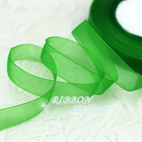 FunnyPicker (50 Yards/Roll) 1/2''(12Mm) Organza Ribbons Wholesale Gift Wrapping Decoration Christmas Ribbons Green