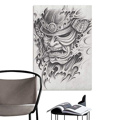 (Alexandear Wall Mural Wallpaper Stickers Kabuki Mask Warrior Samurai Drawing Style with Angry Expression Historical Figure Artwork Black White Living Room Wall W24 x)