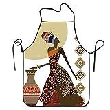 African Women Painting Adjustable Apron For Kitchen Garden Cooking Grilling Women's Men's Great Gift For Wife Ladies Men Boyfriend
