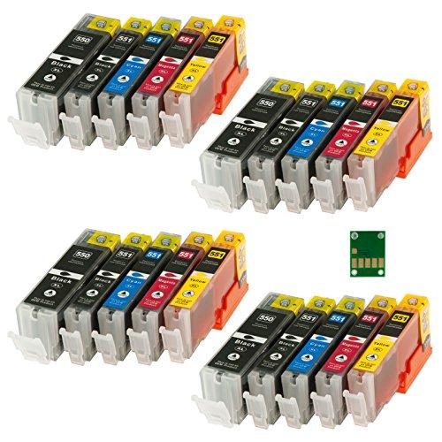 20x kompatible Tintenpatrone für Canon Pixma IP 7250 IP7250 MG5550 MG 5550 MG5650 MG 5650 MX925 MX 925 u.viele andere - PGI550 PGI-550 PGI 550 CLI551 CLI-551 CLI 551