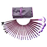 Glow 30 Pc Professional Wooden Handle Makeup Brushes Set in Purple Case