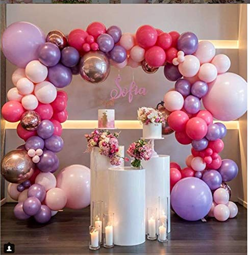 PartyWoo Pink Purple Balloons, 100 Pcs 12 Inch Light Pink Balloons Light Purple Balloons Fuschia Balloons, Princess Party Supplies for Princess Birthday Party, Baby Shower Pink, Baby Shower -