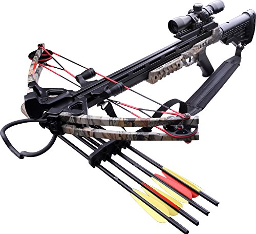 MTech USA MC-DX52GODC Crossbow Kit with Scope and 4 Arrows, Black and God Camo, 185-Pound Draw Weight