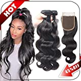 Brazilian Hair Body Wave 3 Bundles With Closure Virgin Human Hair Weave With Lace Closure Free Part Natural Black...