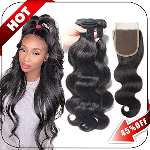 Brazilian Hair Body Wave 3 Bundles With Closure Virgin Human Hair Weave With Lace Closure Free Part Natural Black (10/12/14+10 Inch, Bundles With Closure) (Best Pack Hair Weave)