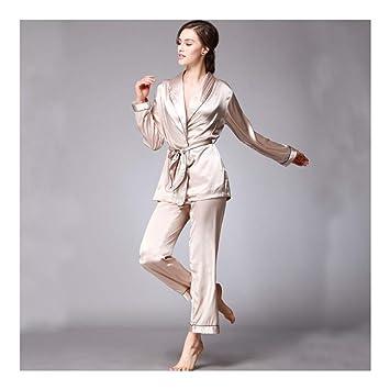 HAOLIEQUAN Pijamas De Seda De Satén Pijama Conjunto con Cuello En V Mujeres Batas Completo Pantalones