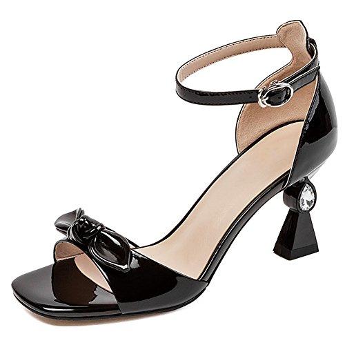 1d70fa6e9 Sandalias de Tacón Alto para Mujer Zapatos Rhinestone de Punta Abierta de  Charol Versión Coreana Flor
