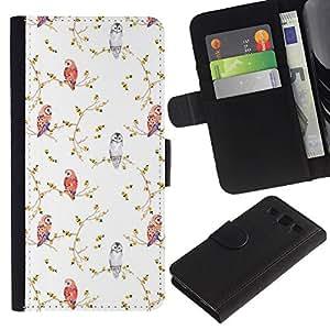 APlus Cases // Samsung Galaxy S3 III I9300 // Vintage Pájaro Blanco fondo de pantalla de la acuarela // Cuero PU Delgado caso Billetera cubierta Shell Armor Funda Case Cover Wallet Credit Card