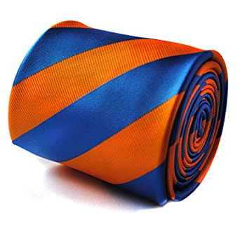 d4a02d2adc37 Image Unavailable. Image not available for. Color: Frederick Thomas orange  and royal blue barber striped tie