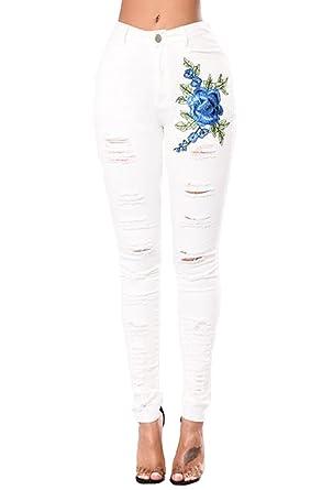 7d1737d059 Minetom Jeans Femme Slim Jean Femmes Pantalon Taille Basse Droit Jean pour  Femmes Blanc X-