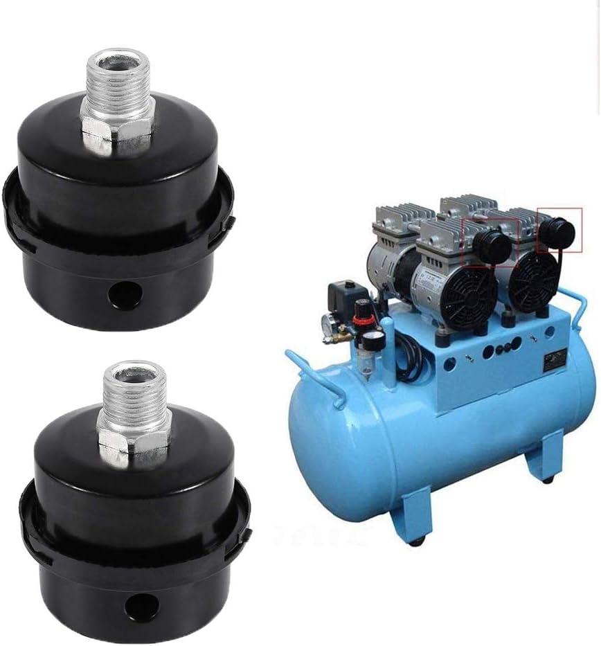 1//2 20 MM Air Compressor Silencer Air Compressor Intake Filter Filter Metal Air Compressor for Oil Free Air Compressor 2 Pieces Thread Filter Silencer Black Metal
