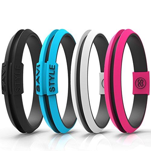 - SAVI SLEEK Sportswear Hair Tie Bracelet - SAVI STYLE Original Colors (Medium, Agile Black)