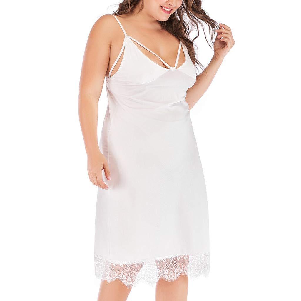 Moginp Vestido Holgado, Vestido de Pijama con Encaje y Talla ...