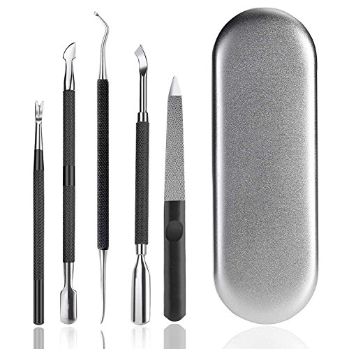 Manicure Pedicure Tools Cuticle Pusher - Ejiubas Cuticle Remover Tool Set Stainless Steel Nail File Callus Removal Fork for Fingernails & Toenails