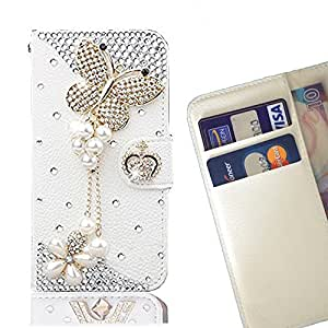 Cat Family Crystal Diamond Waller Leather Case Cover - FOR LG Class - Butterfly -