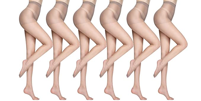 7ce461729 Women s 4 6 Packs Stockings Ultra-Thin Seamless Control Top Sheer 15 Denier  Pantyhose