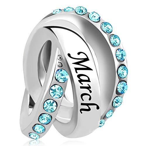 Lifequeen Birthday Charms Jan-Dec Simulated Birthstone Trinity Ring Charm Beads for Bracelets (March)