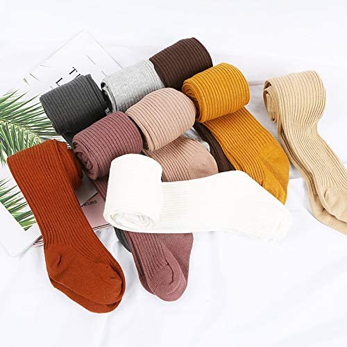 Carolilly Winter Socks for Baby Girl Tights Cotton Ribbed Socks Warm Tights Elastic Socks for Girls Solid Tight