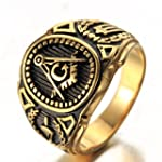 OAKKY Men s Stainless Steel Vintage Masonic Freemason Ring Symbol Member Gold Band Size 9
