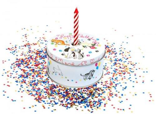 AKTION Geschenkdose 'Torte' mit Kerze und Konfetti Motiv Hund, Katze oder Pferd, Auswahl:Katze