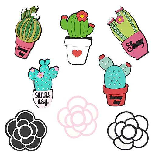 Wolpark 8pcs Different Large Cactus Camellia Flowers Shoe Decoration Charms for Crocs & Bracelet Wristband for Kids Boys Girls Gifts Party
