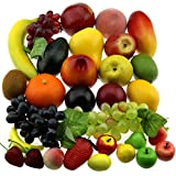 Gresorth 30 Fruits of Decorative Realistic Artificial Fruit Fake Lemon Banana Apple Grape Peach Pear …