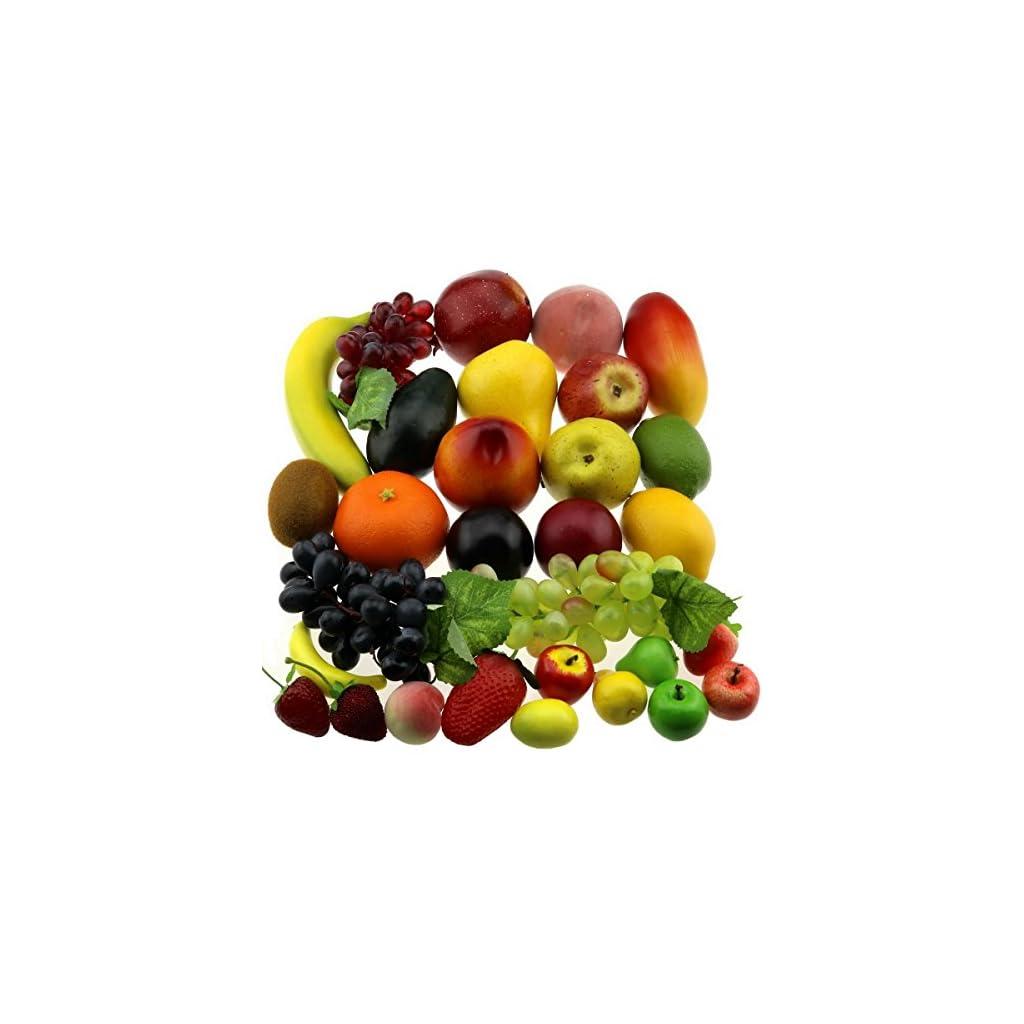 Gresorth-30-Fruits-of-Decorative-Realistic-Artificial-Fruit-Decoration-Fake-Lemon-Banana-Apple-Grape-Peach-Pear-Mango-Strawberry-Orange-