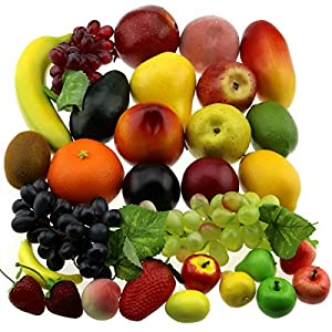 Gresorth 30 Fruits of Decorative Realistic Artificial Fruit Decoration Fake Lemon Banana Apple Grape Peach Pear Mango Strawberry Orange ... 3