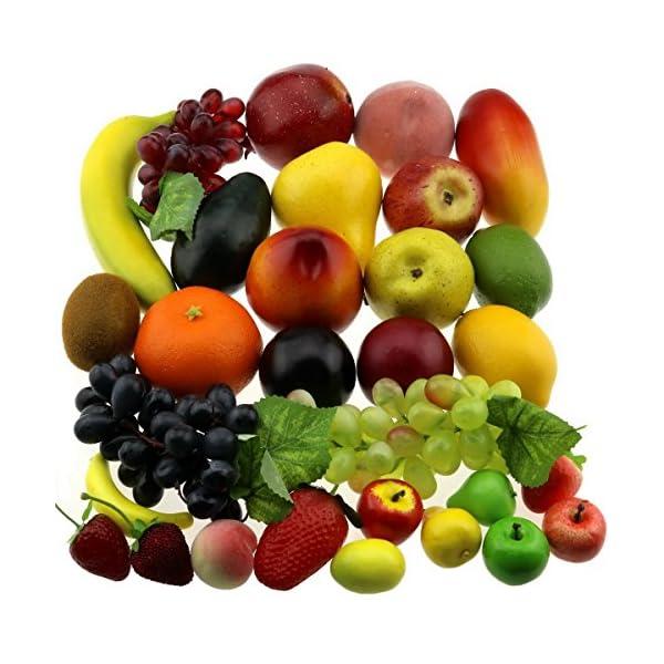 Gresorth-30-Fruits-of-Decorative-Realistic-Artificial-Fruit-Decoration-Fake-Lemon-Banana-Apple-Grape-Peach-Pear-Mango-Strawberry-Orange