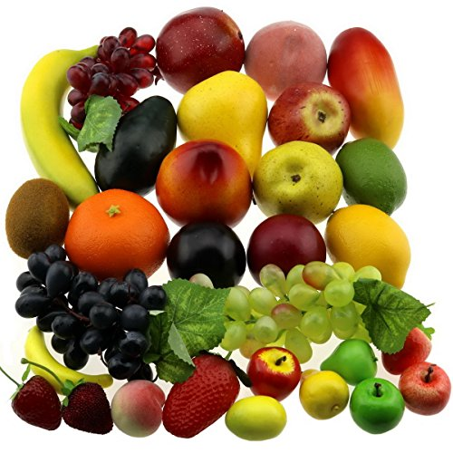- Gresorth 30 Fruits of Decorative Realistic Artificial Fruit Decoration Fake Lemon Banana Apple Grape Peach Pear Mango Strawberry Orange …