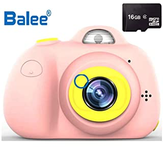 Balee Macchina Fotografica per Bambini Fotocamera Digitale Portatile Selfie Videocamera per Bambine 2 Pollici LCD / 1080P HD / 8MP (Rosa)