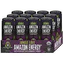 Sambazon Amazon Energy Drink, Jungle Love Acai Berry Passionfruit, 12 Ounce (Pack of 12)