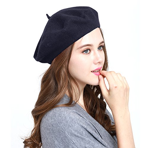 Classic WW004 Winter 100% Wool Warm French Art Basque Beret Tam Beanie Hat Cap (Navy) - Beret Blue Navy