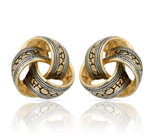 JanKuo Jewelry Two Tone Bali Antique Style Knot Clip On Earrings