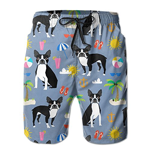 Xexe150-y5 Boston Terrier Palm Trees Men's Summer Surf Swim Trunks Beach Shorts Pants Quick Dry with ()