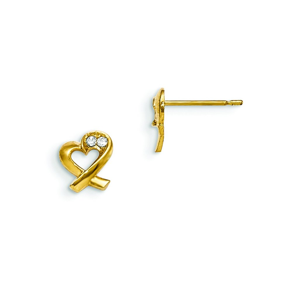 14k Madi K Cz Childrens Heart Post Earrings
