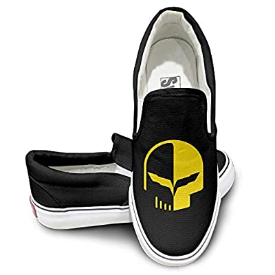 PTCY Chevrolet Logo With Punisher Skull Symbol Sportstyle Unisex Flat Canvas Shoes Sneaker Black