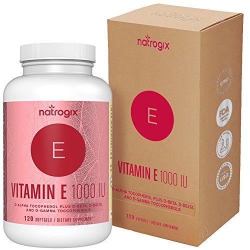 Natrogix Natural Vitamin E Capsules 1000 IU Mixed D-Alpha Tocopherol and Mixed Tocopherols - 120 Softgels - Antioxidant for Healthy Skin, Eyes and Immune System Booster](Natural Vitamin E Capsules)