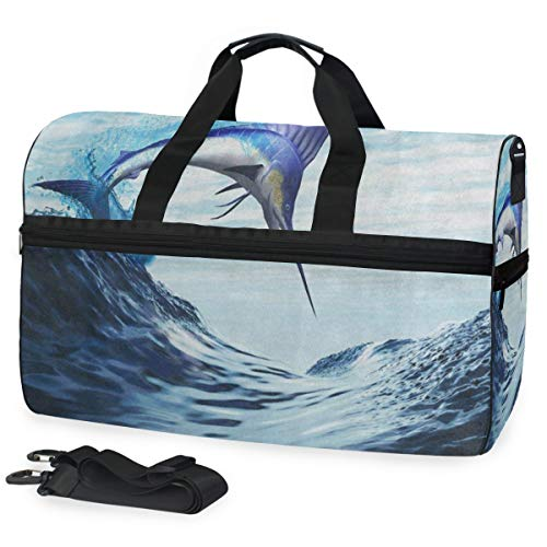 Gym Bag Fantasy Blue Marlin Fish Burst Through Ocean Wave Duffle Bag Large Sport Overnight Yoga Bag for Men Women