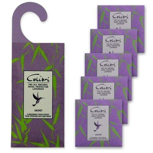 NATÜRLICHER LAVENDEL- MOTTENSCHUTZ DUO PACK - 1 x hängendes Duftkissen für den Kleiderschrank plus 5 Stück Duftkissen für Schubladen