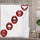smallfly Kiss Shower Curtain Collection by Vivid Full Red Lips Smiling Kissing Sexy Lipstick Mouth Mimicry Femimine Cosmetics Patterned Shower Curtain 48''x72'' Ruby White