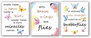 "3 Set- Watercolor Butterfly Inspirational Quote Art Print, Motivational Typography Saying with Butteflies Canvas Wall Art Printing for Office Classroom Decoration (Unframed,8""X10"")"