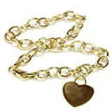 14k Gold Heart Dangle Charm Bracelet with Lobster Clasp (4.9mm) 7''1/2