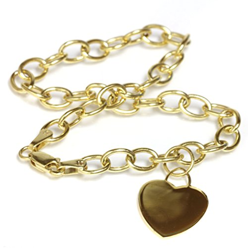 14k Gold Heart Dangle Charm Bracelet with Lobster Clasp (4.9mm) 7''1/2 by Seven Seas Pearls