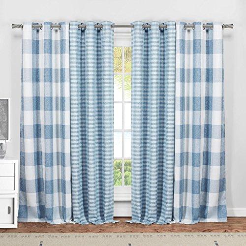 Plaid Silk Drapes (Window Treatment 4PC Set Décor 2 Blackout & 2 Faux Silk Plaid Checker Print Window Grommet Top Curtains 37 inch Wide by 84 Long Each (Assorted Colors) Room Darkening Panel Drapes - Blue White)