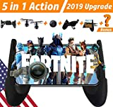 GAMR+ Mobile Game Controller and Gamepad for PUBG/Fortnite/Knives Out/Rules of Survival for iPhone iOS/Android【Upgraded Version】 Sensitive Shoot and Aim Triggers for L1R1 Mobile Joystick Gaming Grip