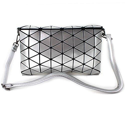 Handbag Bag Silver Leather Shoulder Laser Fashion Envelope Clutch Meliya Grey Purse Holographic Womens wqzZZR