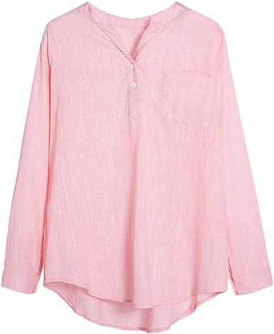 SEEGOU - Camisa informal para mujer, cuello en V, manga larga ...